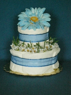 Blue Daisy Two-Layer Cake