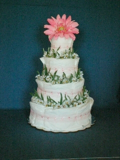 Pink Daisy Four-Layer Cake